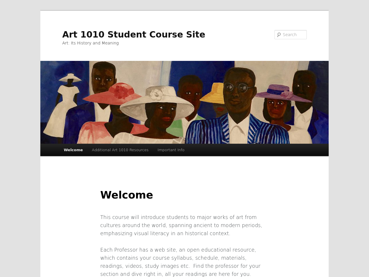 Front page of Art 1010 Student OER 2019