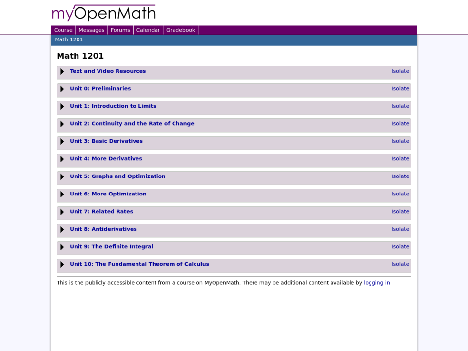 clicking will take you to OER myopenmath site.
