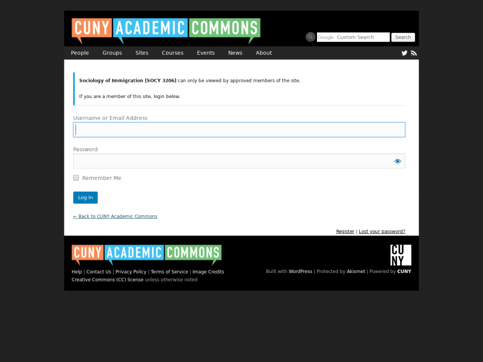 academic commons login to access socy 3206 oer.