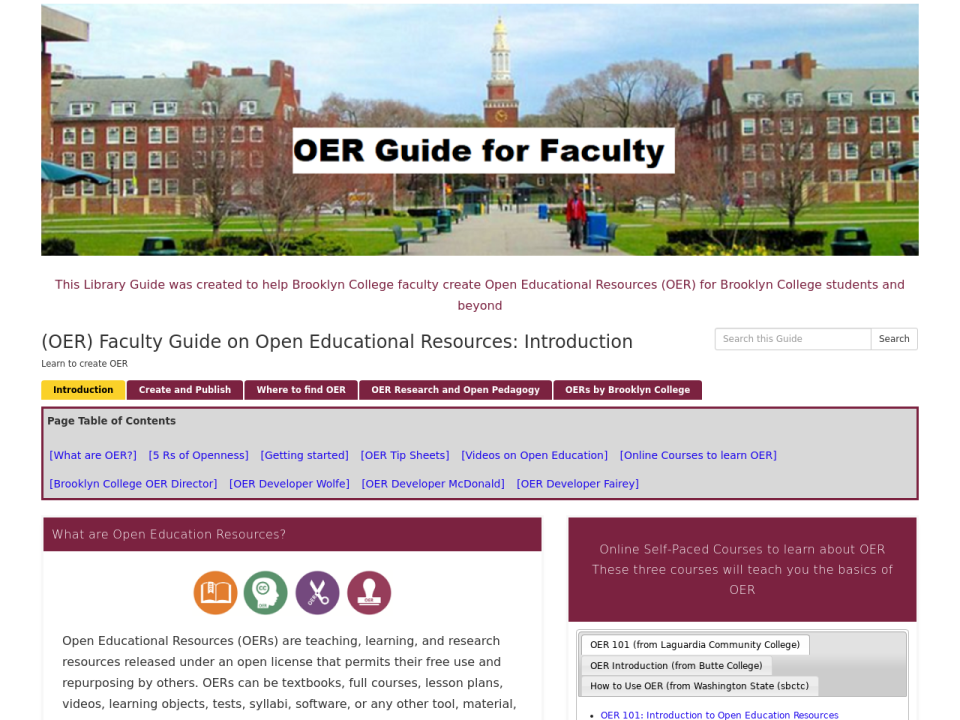 OER how to guide for faculty, click to go to guide.