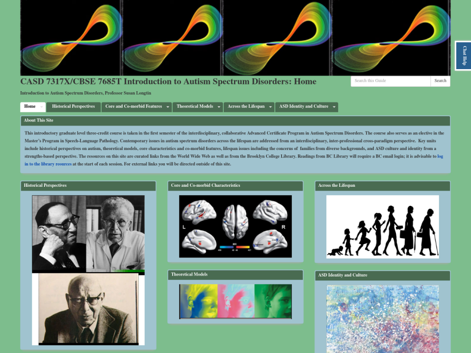 Screenshot of Introduction to Autism Spectrum Disorders site
