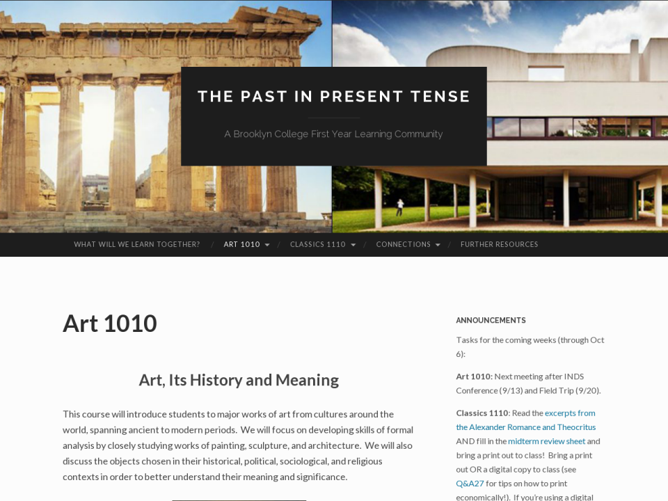 Screenshot of Art 1010 (2017) Its History and Meaning site