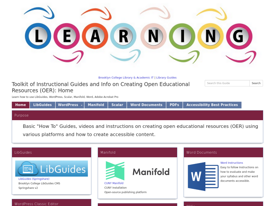Instruction OER homepage, click to go to guide.