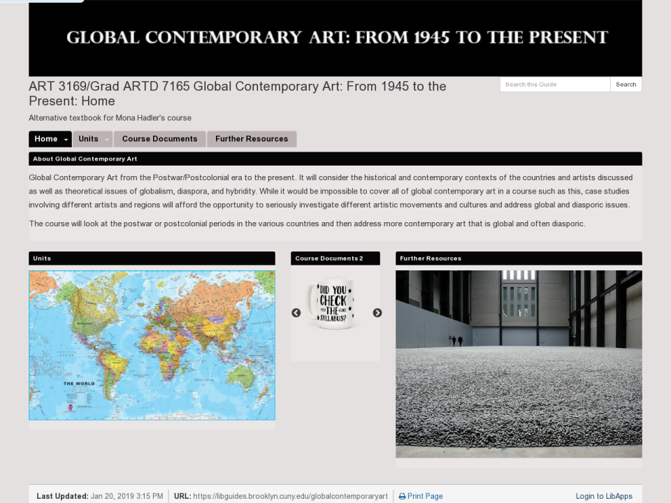 Screenshot for ART 3169/Grad ARTD 7165 Global Contemporary Art: From 1945 to the Present OER