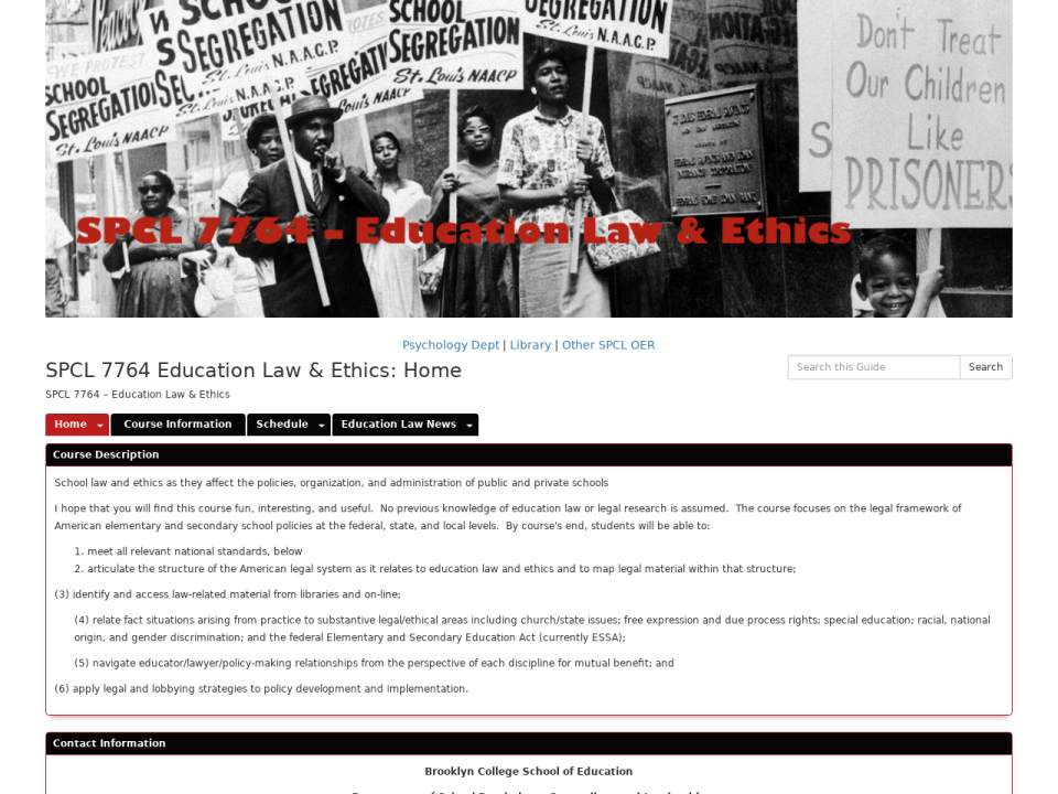 Homepage to education law & ethics, click to go to guide.
