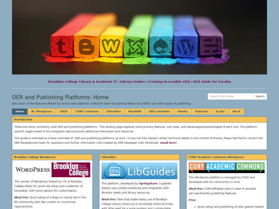 OER Platform guide, click to go to guide homepage.