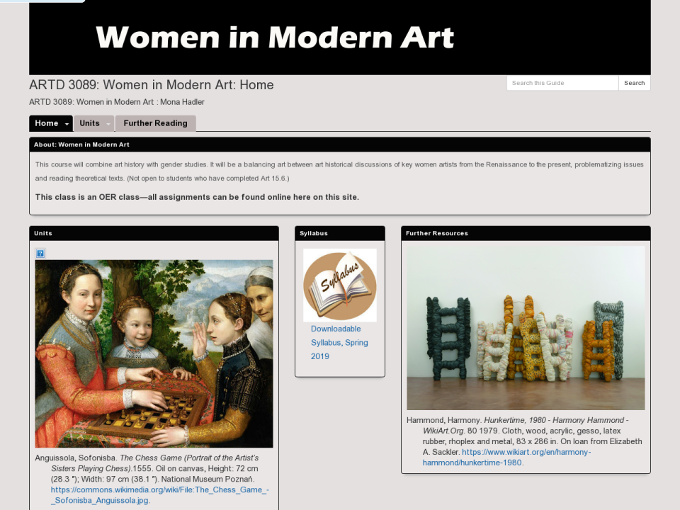 Women in Modern Art homepage, click to go to guide.
