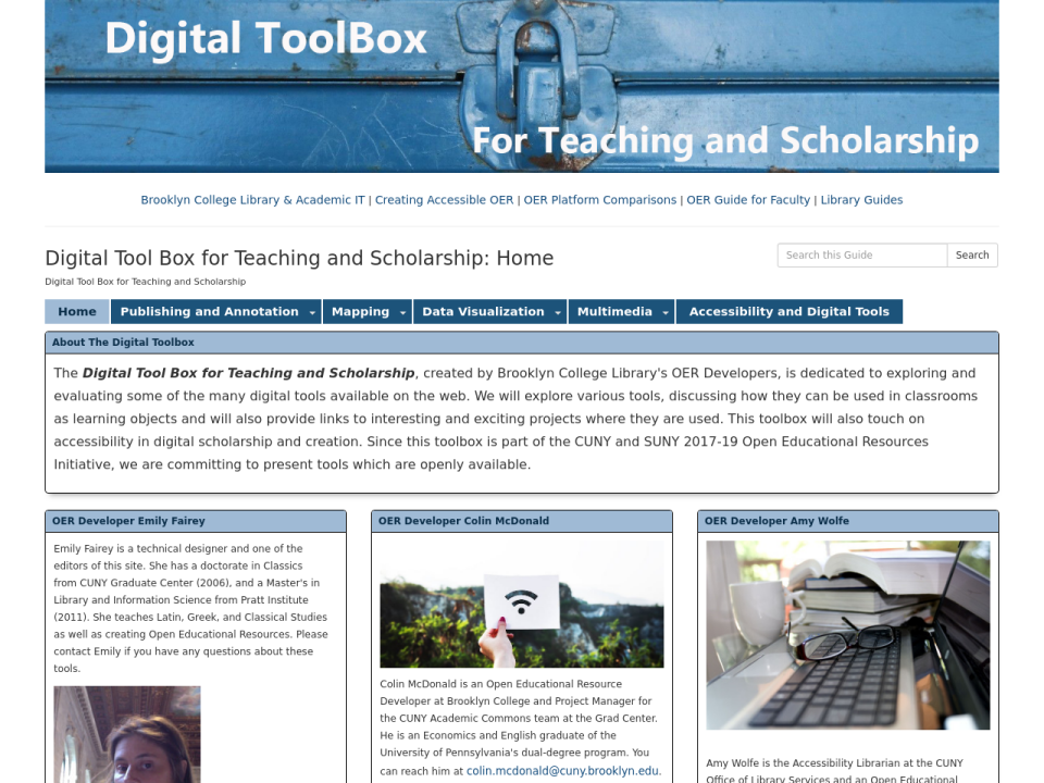 Digital Toolbox for Teaching and Scholarship