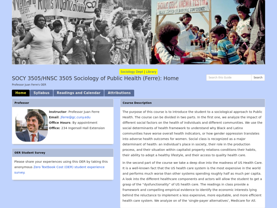 Sociology of Public Health homepage, click to go to site.
