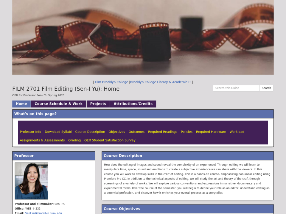 Screengrab of guide homepage, clicking takes you to Film subject oer page.