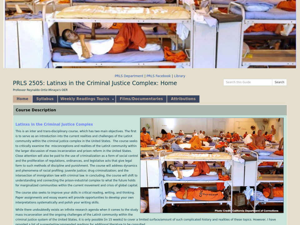 Latinxs in the Criminal Justice Complex homepage, click to go to guide.