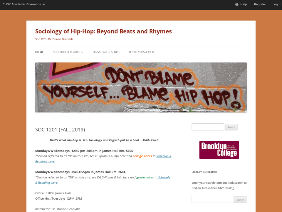Homepage of Sociology of Hip Hop, click to go to guide.