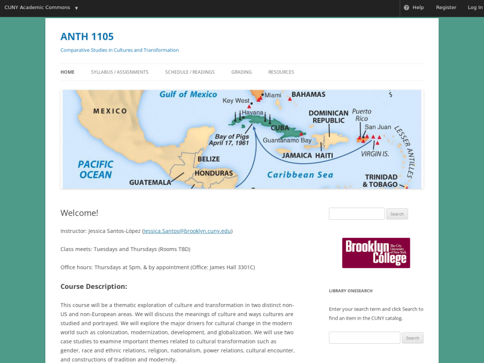 Homepage of anthro 1105, click to go to guide.