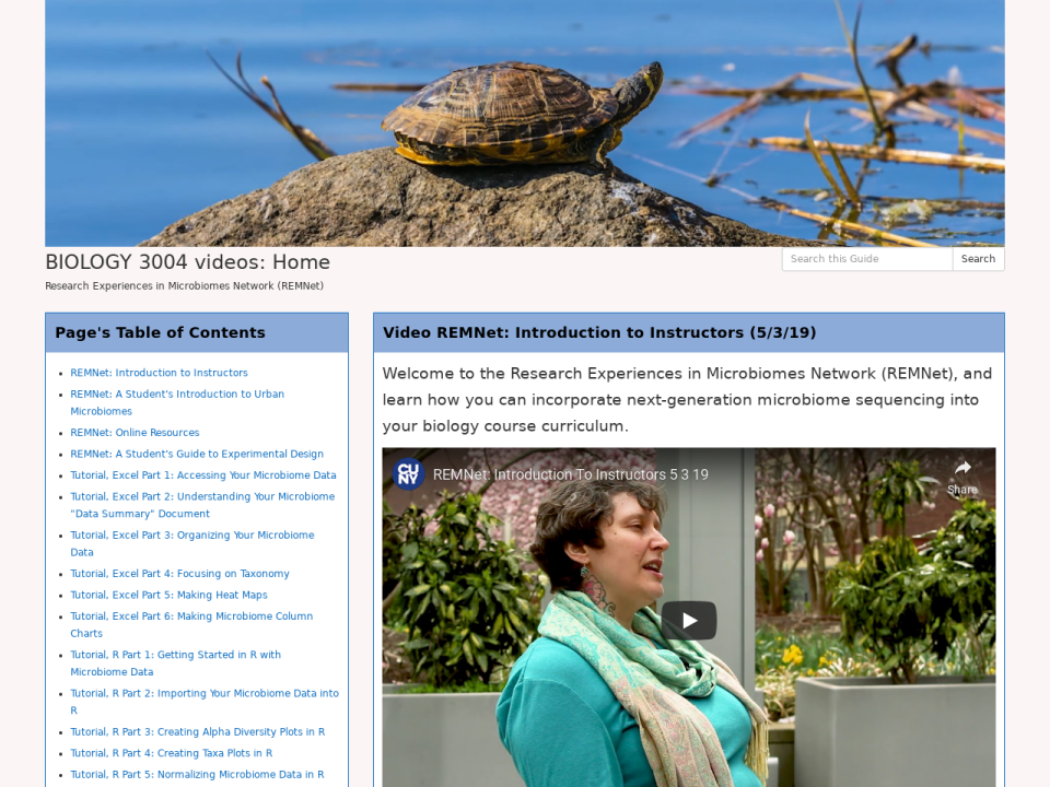 screen grab of biology 3004 homepage, click to go to guide.