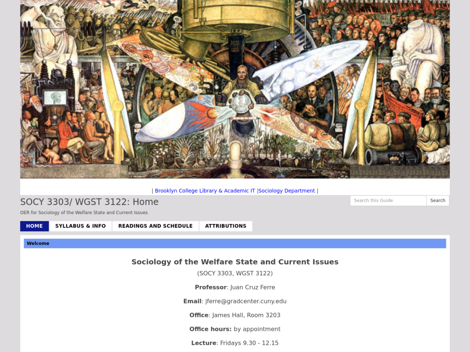 Sociology of the Welfare State and Current Issues OER homepage, click to go to guide.