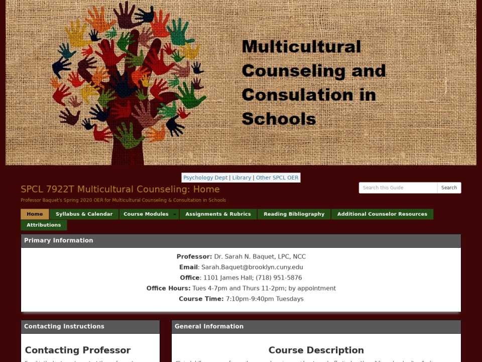 screengrab of guide, click to go to School Psychology, Counseling, and Leadership topic OER page.