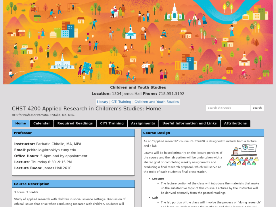 Homepage of guide, click to go to guide.CHST 4200 Applied Research in Children's Studies