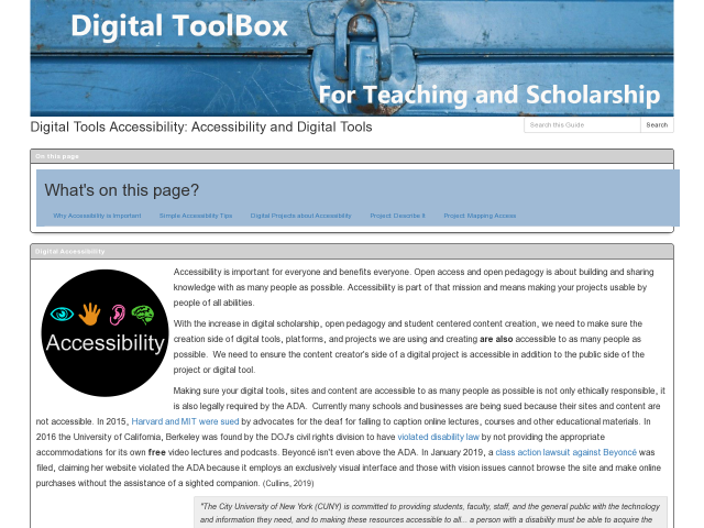Accessibility pg of Digital Toolbox, click image to go to guide.