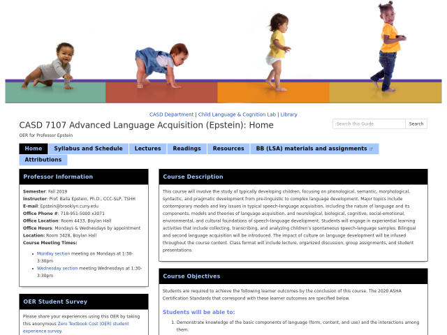 Advanced Language Acquisition guide homepage, click banner to go to guide.